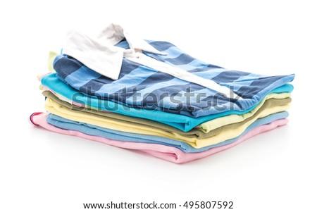 stacks of clothing on white background #495807592