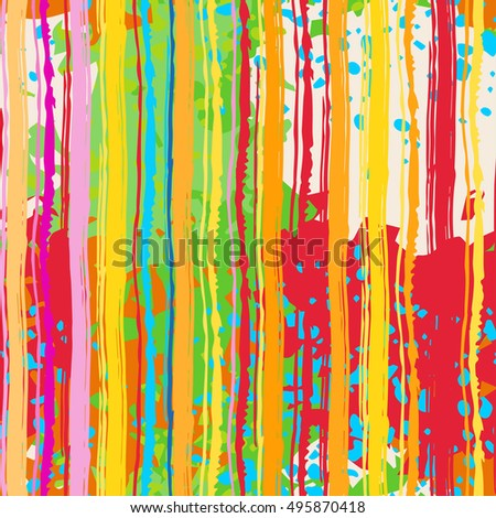 Abstract art grunge colorful seamless pattern, paint stains, watercolor, chaotic brush strokes. Background distressed texture, wallpaper, wrapping #495870418