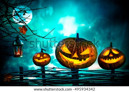 Halloween pumpkins in front of nightly spooky forest background #495934342