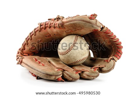 old vintage baseball glove with the baseball held in the palm isolated over white background Royalty-Free Stock Photo #495980530