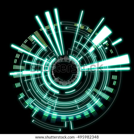 View of a Futuristic technology wheel on a black background #495982348
