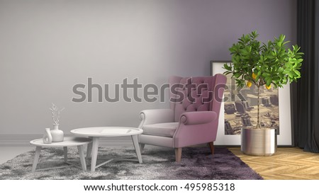 interior with chair. 3d illustration #495985318