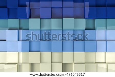 3d Rendering illustration of cubes #496046317