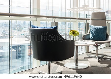 Close up of modern chairs and modern waiting room at office #496119640