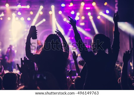 Festival crowd enjoying a great concert outdoors. Royalty-Free Stock Photo #496149763