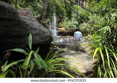 Soi Sawan waterfall in  summer. National Park in Pha Taem Ubon Ratchathani Thailand. #496191835