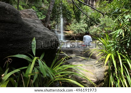 Soi Sawan waterfall in  summer. National Park in Pha Taem Ubon Ratchathani Thailand. #496191973