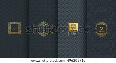 Collection of design elements,labels,icon,frames, for packaging,design of luxury products.Made with golden foil.Isolated on black background. vector illustration Royalty-Free Stock Photo #496203910