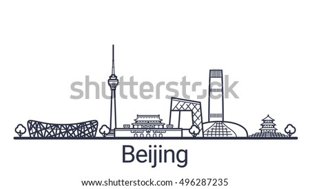 Linear banner of Beijing city. Customizable objects with opacity mask, so you can change composition and background fill. Line art.