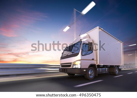 3d rendering of delivery truck on the road at dawn #496350475