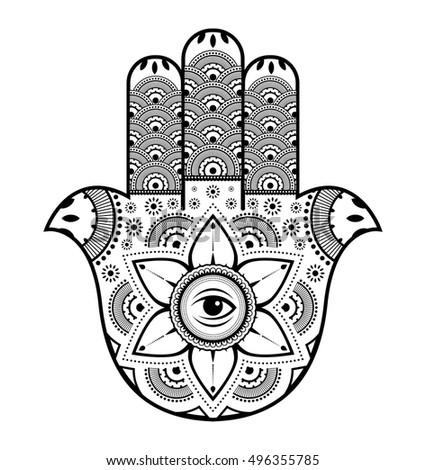 Hamsa, black and white vector illustration of hand of Fatima #496355785