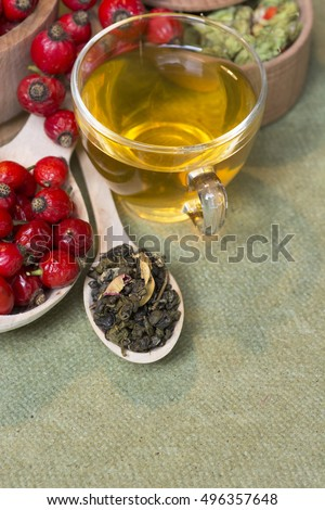 Medicinal plants and herbs composition: Dog rose, bunch branch Rosehips, Different types Rosa canina hips, green tea with hawthorn. selective focus  #496357648