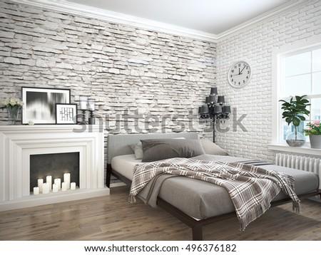 Modern bright interior . 3D rendering #496376182