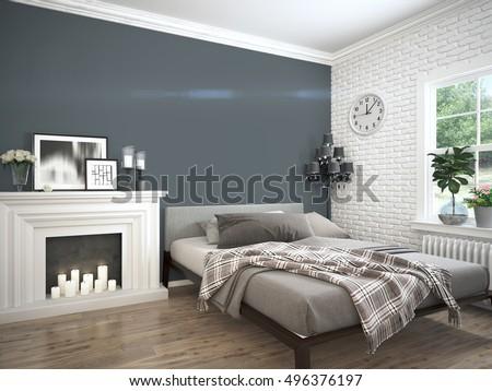 Modern bright interior . 3D rendering #496376197
