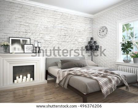 Modern bright interior . 3D rendering #496376206