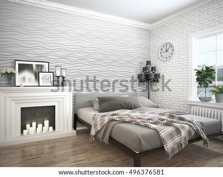 Modern bright interior . 3D rendering #496376581