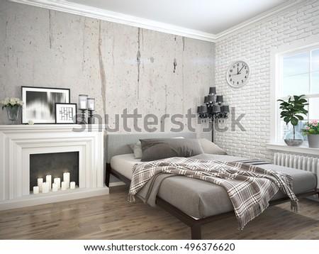 Modern bright interior . 3D rendering #496376620