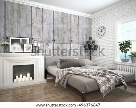 Modern bright interior . 3D rendering #496376647