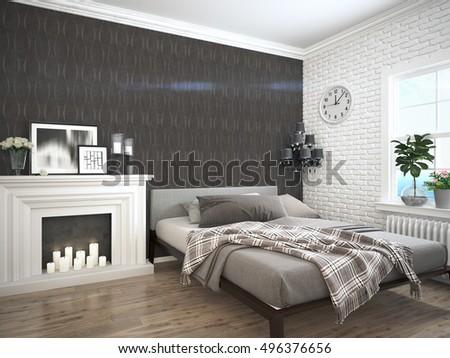 Modern bright interior . 3D rendering #496376656