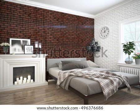 Modern bright interior . 3D rendering #496376686