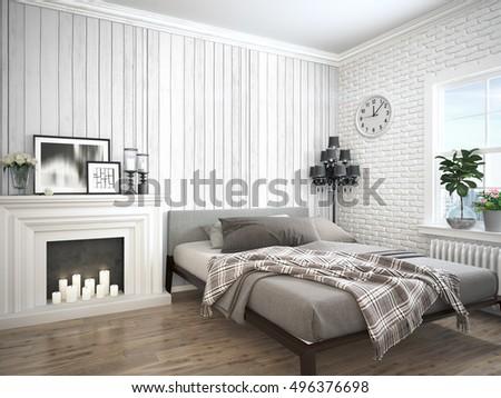 Modern bright interior . 3D rendering #496376698