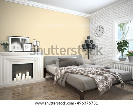 Modern bright interior . 3D rendering #496376731
