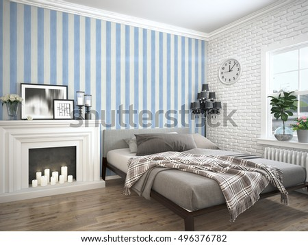 Modern bright interior . 3D rendering #496376782