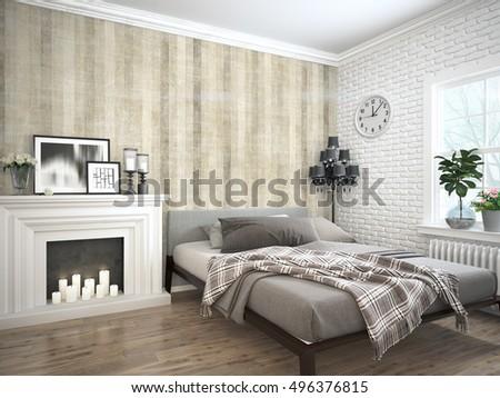 Modern bright interior . 3D rendering #496376815