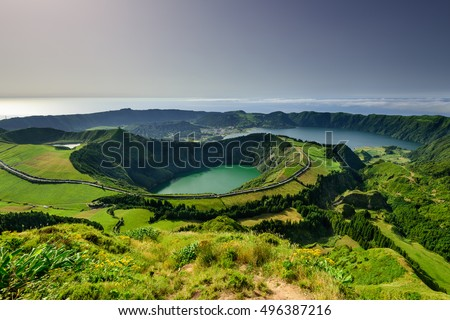 Panoramic landscape overlooking three amazing ponds, Lagoa de Santiago, Rasa and lagoa Azul, Lagoa Seven Cities.The Azores are one of the main tourist destinations in Portugal #496387216