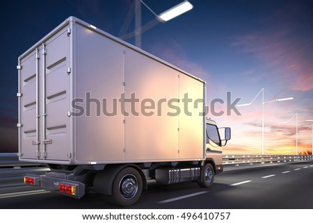 3d rendering of delivery truck on the road at dawn #496410757