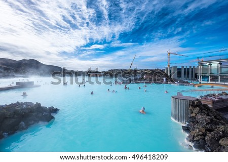 The Blue Lagoon geothermal spa is one of the most visited attractions in Iceland #496418209