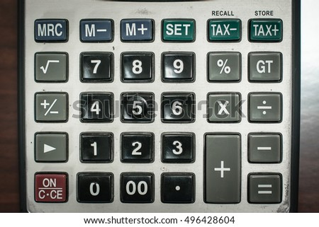 a calculator with numbers and symbols no display #496428604