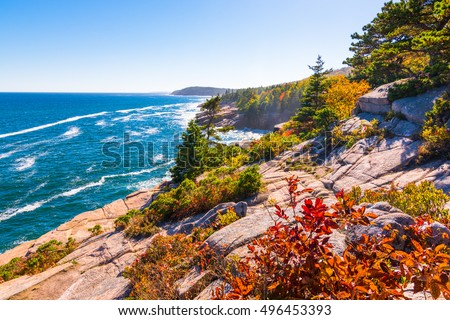 View of the Maine coastline at Acadia National park. Royalty-Free Stock Photo #496453393