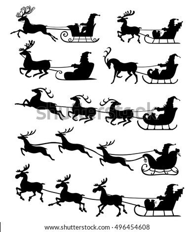Vector illustrations of Christmas silhouette of Santa Claus riding on reindeer sleigh set icon isolated on white background
