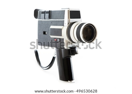 Vintage old video camera isolated on white #496530628
