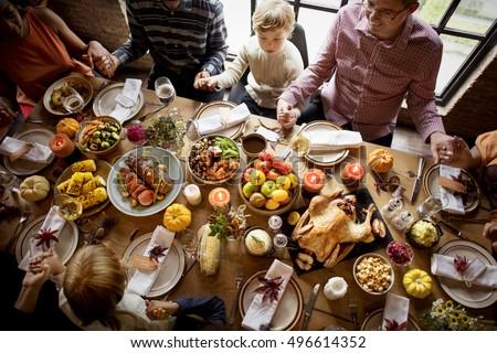 Thanksgiving Celebration Tradition Family Dinner Concept #496614352