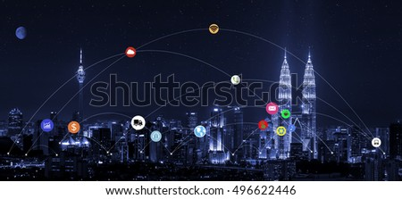smart city and wireless communication network, abstract image visual, internet of things #496622446