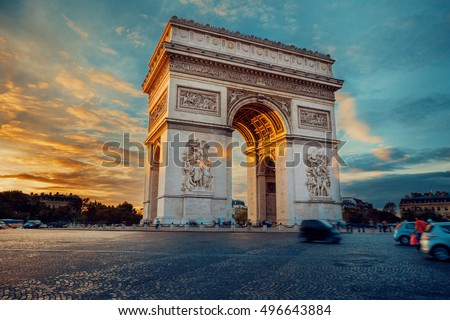 Triumphal arch. Paris. France. Place Charles de Gaulle. Famous touristic architecture landmark in summer night. Napoleon victory monument. Symbol of french glory. World historical heritage. Toned #496643884