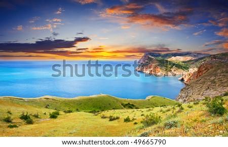 Beautiful sunset over the sea #49665790