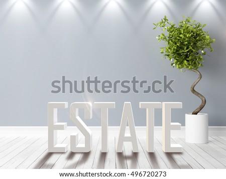 Modern bright interior . 3D rendering #496720273