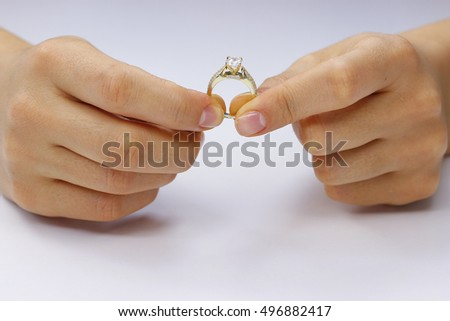 Close up of female hands with ring #496882417