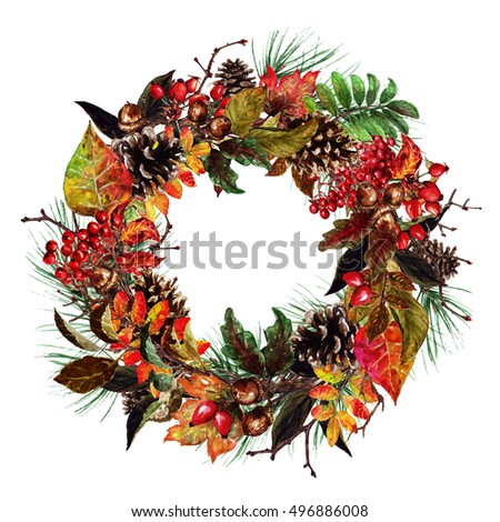 Autumn Decor and Design Elements, Watercolor Illustration