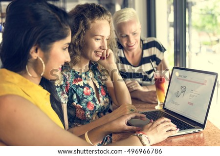 Young Women Shopping Online Concept #496966786
