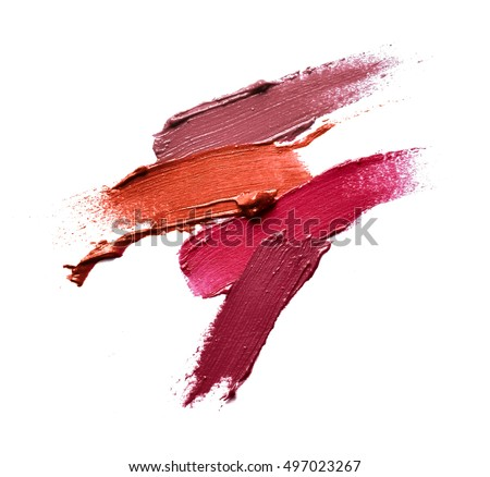 Collection of various Smears lipstick on white background Use for advertising Royalty-Free Stock Photo #497023267