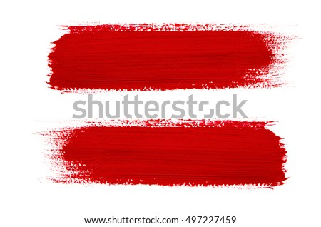 Red brush stroke isolated on grunge background #497227459