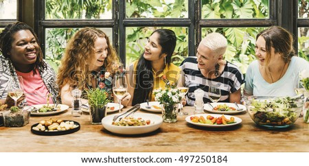 Women Communication Dinner Together Concept #497250184
