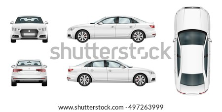 Car vector template on white background. Business sedan isolated. Vehicle branding mockup. Side, front, back, top view. All elements in the groups on separate layers. Royalty-Free Stock Photo #497263999