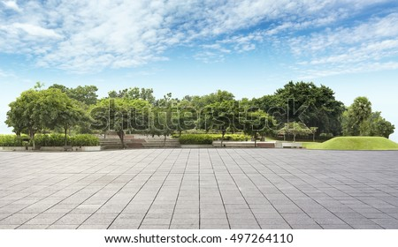 Empty tiles at the nice and comfortable great garden panorama  #497264110