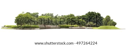 Empty street at the nice and comfortable great garden isolated at white background #497264224