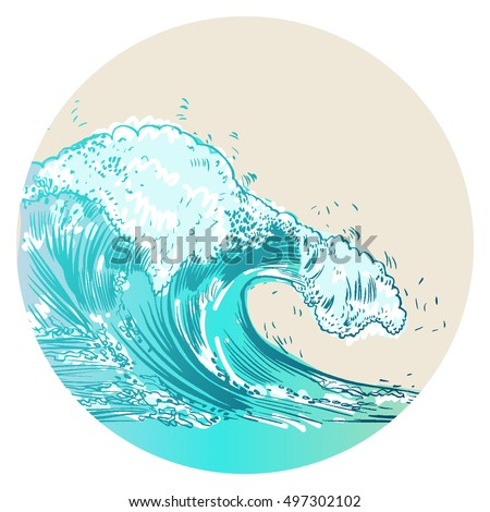 Vector Illustration of handdrawn handpicked waves #497302102